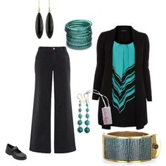 """""""Plus Size Black and Teal"""" by intcon on Polyvore"""