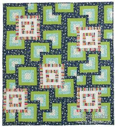 Moving Boxes quilt pattern: Strip piecing gives the look of intricacy in this easy quilt pattern designed by Emily Bailey.