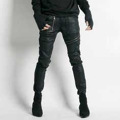 Remember Click Zipper Accents Coated Skinny Jeans BLACK S M L Korean Wear #RememberClick #SlimSkinny