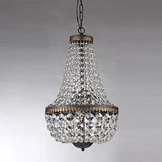 House of Hampton Fraser 6 - Light Unique / Statement Empire Chandelier with Crystal Accents Lantern Chandelier, Empire Chandelier, Rectangle Chandelier, Chandelier Lighting, House Lighting, Kitchen Lighting, Ceiling Light Fixtures, Ceiling Lights, Chandeliers