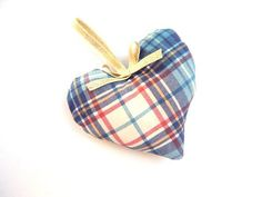 Tartan Fabric Heart with Golden Ribbon - Plaid Plush  Hanging Heart - Anniversary Gift - House warming present - Valentine gift pincushion