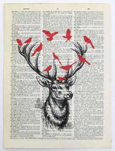 Deer and Birds by Kuala Lumpur/would make a kool invite for a nature person