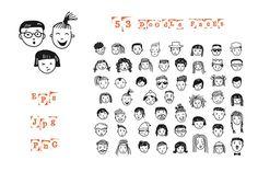 53 doodle faces by Lera Efremova on @creativemarket