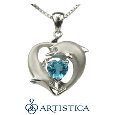 Two dolphins encircle a beautiful one carat heart-shape ocean blue topaz as… Jewelry Rings, Jewelery, Dolphin Jewelry, Wale, Pretty Necklaces, Other Accessories, Dolphins, Heart Shapes, Jewelry Collection
