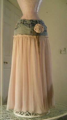 Solange ballet pink tulle ultra femme romantic bohemian jean skirt Made to Order. $110.00, via Etsy.  {I really like her designs/styles}