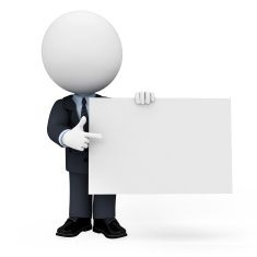 3d white character as business man with sign stock photo