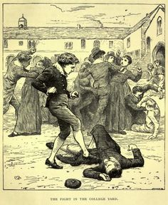 Illustration by Charles Green from Mrs G. Linnaeus Banks, The Manchester Man - an 1896 edition by Abel Heywood & Son: This fight is prompted by the Manchester Grammar School boys' abuse of their right of way through the Chetham School's yard. Laurence Aspinall has Jabez Clegg at his feet. Their paths will cross again.