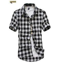 Coolred-Men Premium Flyaway Classic-Fit Set Western Shirt Short Pants Set