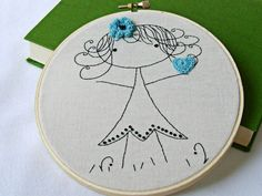 Embroidery Pattern PDF Little Girl with Heart and
