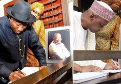 Ekpo Esito Blog: Jonathan, Sambo signing the condolence register at...