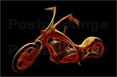 Von Motorräder und Roller gibt es die verschiedensten Ausführungen und Modelle. In Amerika sind besonders die sogenannten Chopper verbreitet. Bei diesem speziellen Motoradtyp, der auch auf einem Kunstposter beeindruckt, wurden einige optische Extras hinzugefügt.