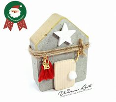 Christmas 2019, Christmas Home, Christmas Crafts, Christmas Ornaments, Lucky Charm, Little Houses, Concrete, Diy And Crafts, Projects To Try