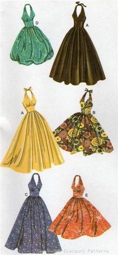 Simplicity 3823 UNCUT PATTERN 14-22 Halter Dress Vintage/Retro Swing Rockabilly