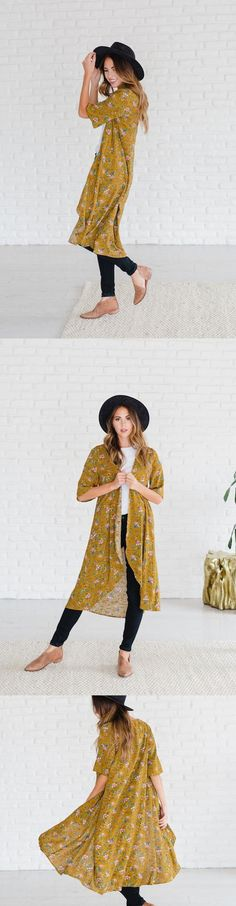loving the kimono trend right now! This yellow floral pattern is so cute and goes with everything!  #kimonofashion  #womenswear  #womensfashion