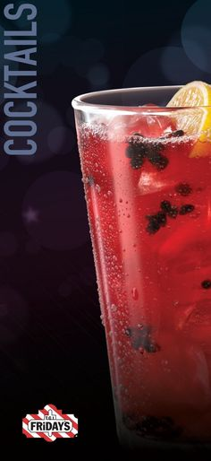 TGI Fridays Blackberry Long Island Iced Tea  (1/2oz Smirnoff, 1/2oz Bombay, 1/2oz Bacardi, 1/2oz Triple, 1/2oz Chambord, 3 Thawed Blackberries, 2oz S&S, 1 1/4oz coke top) (Mixer 1-8) (Lemon, Straw)!!
