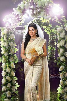 Bride in cream silk saree Christian Wedding Dress, Christian Bridal Saree, Christian Bride, Christian Weddings, Indian Bridal Outfits, Indian Bridal Fashion, Indian Bridal Wear, Bride Costume, Wedding Costumes