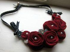 Red Felt Rose Flower Bib Necklace. $24.00, via Etsy.