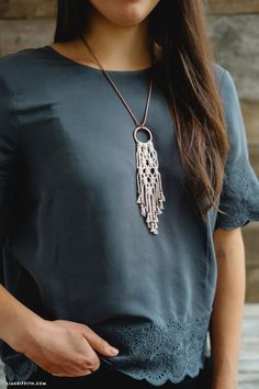 Simple DIY Macrame Necklace                                                                                                                                                     More