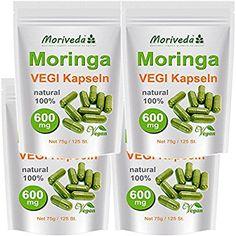 Moringa Kapseln 500 VEGI Oleifera hochdosiert 600mg - 100% Vegane Rohkost von MoriVeda (4x125)