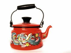 Vintage Rosemaled Enamelware Tea Kettle   Flickr - Photo Sharing!