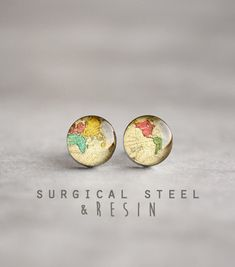 World map earring studs, Surgical steel studs, Antique world map earring studs, Whole Wide World stud gift for her map jewelry mens earrings by myBeltBuckle on Etsy https://www.etsy.com/listing/124281430/world-map-earring-studs-surgical-steel