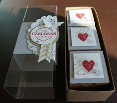 Small boxes inside of larger box... an idea would be to use the Stampin' Up treat box and then use the gift box punch board to make the smaller boxes to nest inside.
