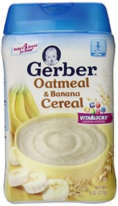 Gerber Baby Cereal, Oatmeal Banana, 8 Ounce (Pack of Gerber… Infant Formula, Baby Snacks, Baby Cereal, Pregnancy Cravings, Gerber Baby, Baby Necessities, Homemade Baby Foods, Toddler Meals, Miniature Food