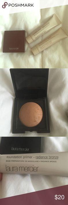 "LAURA MERCIER makeup set 3 pc Makeup set includes: 👑Bronze #03 matte radiance baked powder. 👑 foundation primer in ""radiance bronze"" 👑 foundation primer protect spf30 Laura mercier Makeup Face Primer"