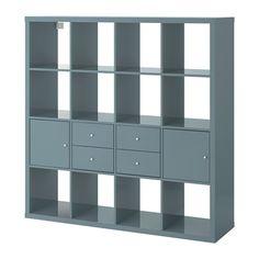 IKEA - KALLAX, Étagère avec 4 accessoires, gris-turquoise brillant,