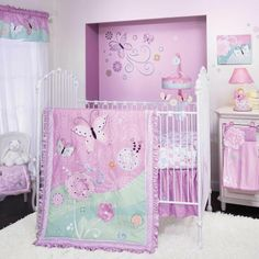 Lavender Butterflies and Flowers Baby Girls Nursery 4 Piece Crib Bedding Set