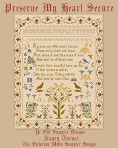 Youths Flowery Season antique sampler style,cross stitch chart,10pg,color/&symbls