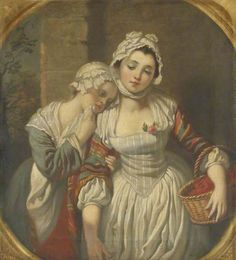 Young Girl and Her Maid by Jean-Baptiste Greuze (style of)    Date painted: 19th C