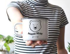 Mama BearMug Enamel Mug Camping Mug Travel Mug Handpainted Mug Gift For Her Gift…