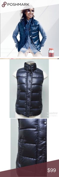 [J. Crew] down filled puffer vest PRODUCT DETAILS Over sweaters or under coats, our lightweight down vest lets you layer up without the bulk.  Down-filled nylon. Standing collar. Hidden zip with snap closure. Pockets. Machine wash. Import. Item B1160. J. Crew Jackets & Coats Vests