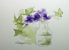Purple Flowers and Ivy in Glass Jar Watercolor by RoseAnnHayes, $21.00
