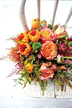 Garden rose, tulip, protea