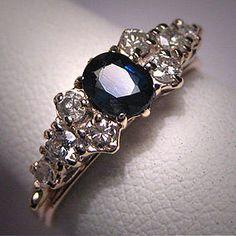 Antique Vintage Sapphire Diamond Wedding Ring Band 14K