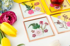 Pressed flower coasters