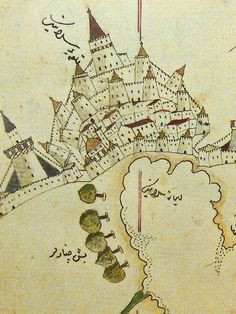 Ottoman map Pera museum - Ottomans - Ideas of Ottomans Old Maps, Antique Maps, Vintage World Maps, Ancient Maps, Ancient History, Map Globe, Fantasy Map, Map Design, Medieval Art