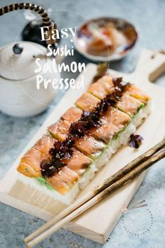 Discover how to make the easiest sushi - Pressed Sushi using molds. Read about the equipment & ingredients needed with detailed instructions Sushi Recipes, Seafood Recipes, Asian Recipes, Cooking Recipes, Potluck Recipes, Asian Foods, Spring Recipes, Smoked Salmon Sushi, Bon Appetit