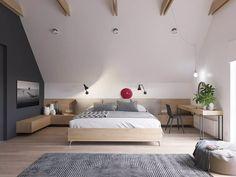 Camera matrimoniale stile scandinavo moderno con motivi audaci e intriganti - design appartamento