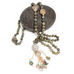 Labradorite 108 Bead Mala, with Shaman Dream Stone, Quartz and Turquoise by Mia Illuzia