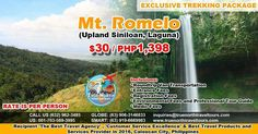 Exclusive Trekking Package, Mt Romelo, P1 , 98 ($30)/person, see ad for inclusions. Book now!  #travelagency #tourism #asiantravel #hiking #climbing #adventure #trekking #visitpinas