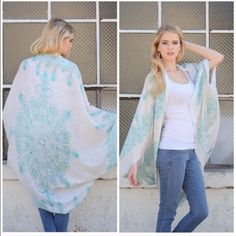 Mint Henna print kimono cardigan Cape shawl Osfm nwot mint henna print kimono cardigan shawl . Great for layering over tops or dresses. 100% acrylic light weight . Also available in mocha , black and blue . Price firm unless bundled for 10% off. Vivacouture Accessories Scarves & Wraps