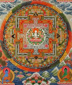 Mandala of 4-armed Chenrezig (Avalokiteshvara). Buddhist Deity who represents the 4 Immeasurables: loving kindness, joy, equanimity and compassion. One w these qualities, he uses them to benefit sentient beings. 2 hands in prayer. He holds a brilliant sky-blue wish-fulfilling jewel (=altruistic love for all sentient beings) at his heart. With prayers/meditation, he inspires inner transformation of negative qualities into selfless wish to serve others. His Mantra: OM MANI PADME HUNG.