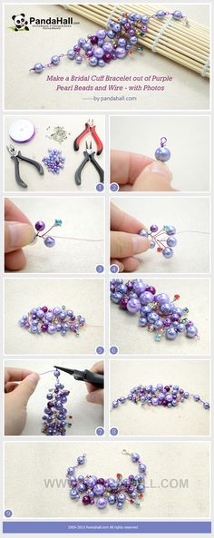 Make a Bridal Cuff Bracelet out of Purple Pearl Beads and Wire - with Photos from pandahall.com