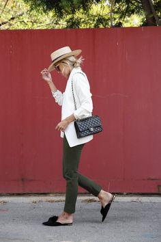 White blazer, stripe shirt, Pradas