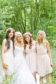 light pink bridesmaid dresses  (more pink but i liked the flowerly look :) @Philippa Hill)