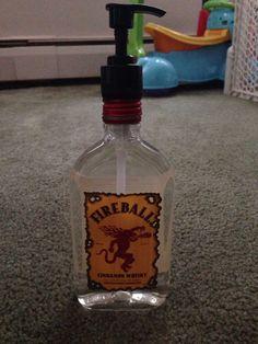 Fireball whiskey soap bottle