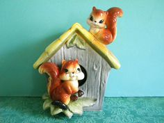 Vintage Squirrel House Coin Bank by SongbirdSalvation on Etsy